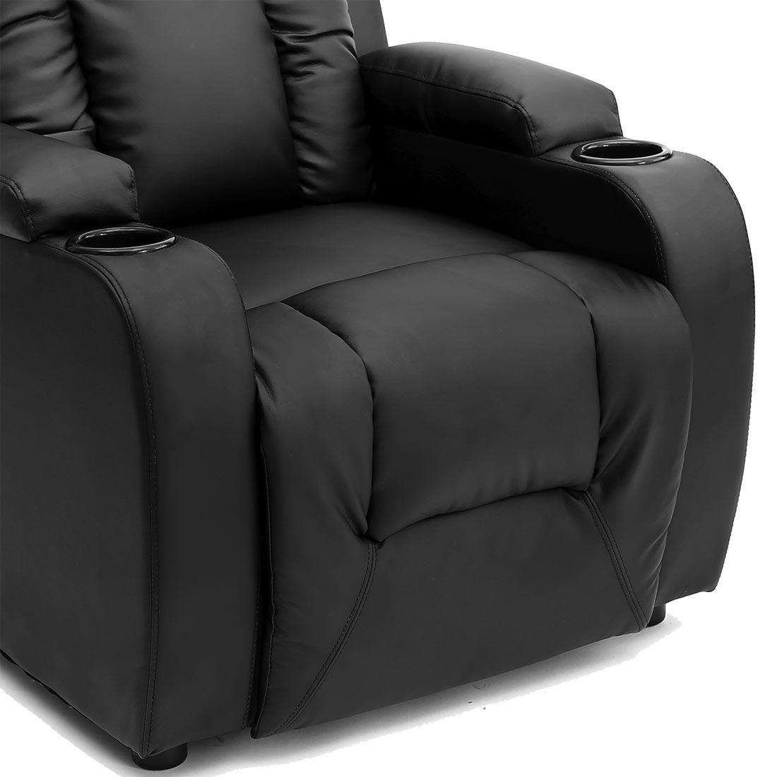 Oscar Black Leather Recliner W Drink Holders Armchair Sofa