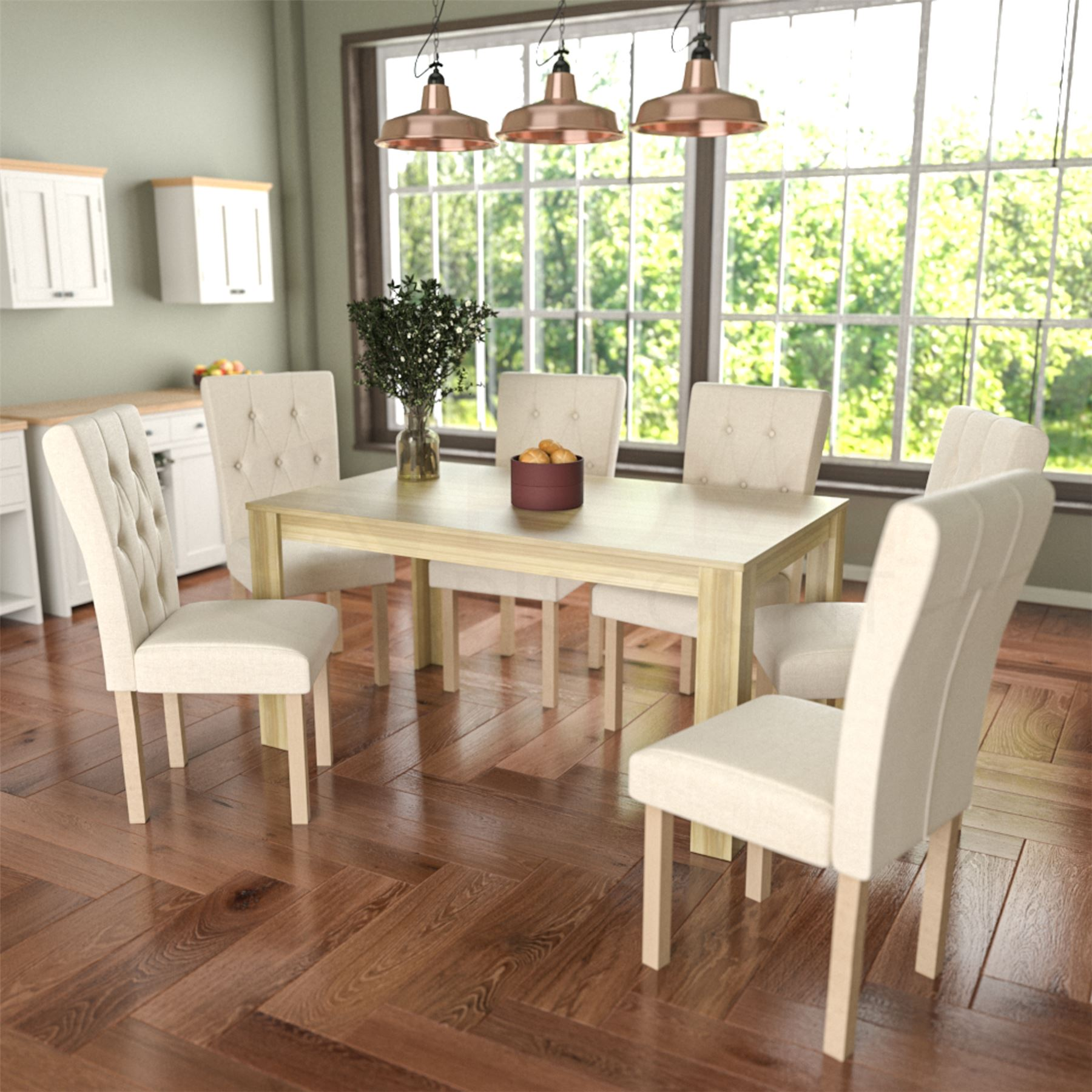Dining Room Chair Fabric Details About Dining Table 6 Chairs Fabric Seat Kitchen Dining Room Furniture Set Cream Oak