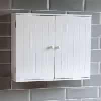 Bathroom Wall Cabinet Double Door Storage Cupboard Wooden ...