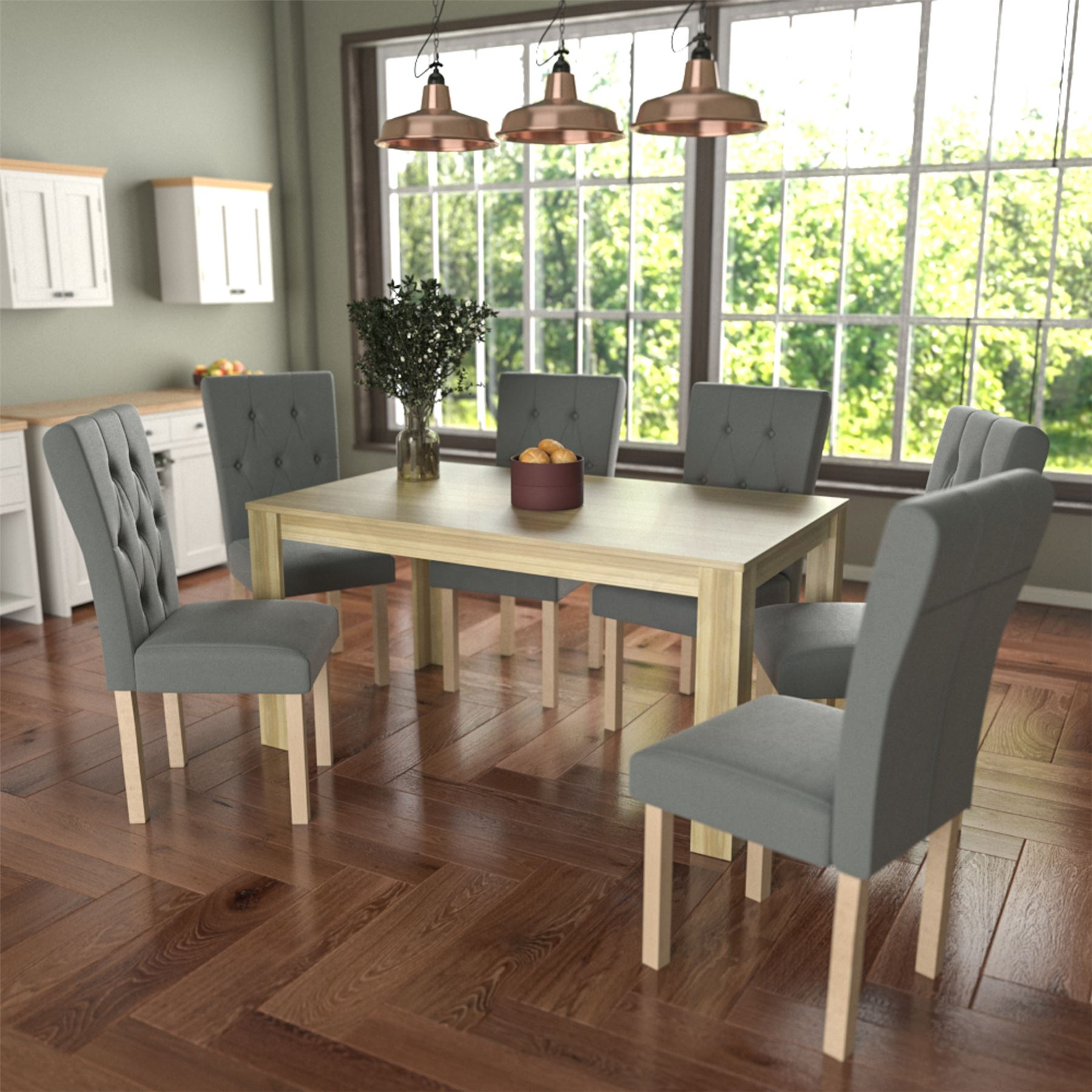 Dining Room Chair Fabric Details About Dining Table 6 Chairs Fabric Seat Kitchen Dining Room Furniture Set Grey Oak