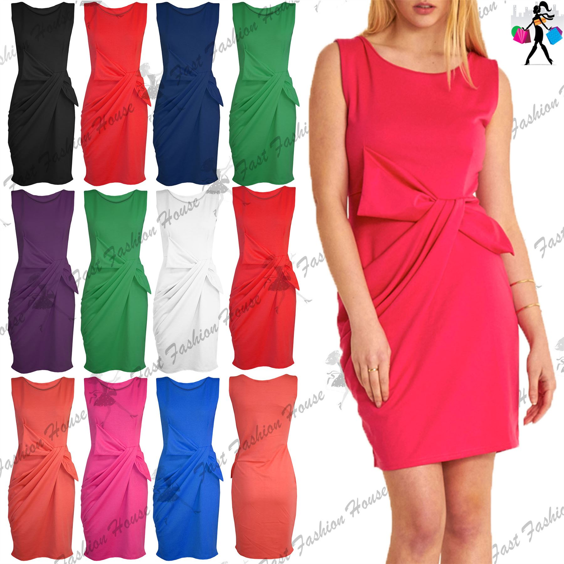 Big W Bow Tie Womens Ladies Side Ruched Big Bow Tie Knot Sleeveless