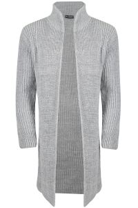Mens Open Front Long Sleeve Shawl Rib Knitted Knitwear ...
