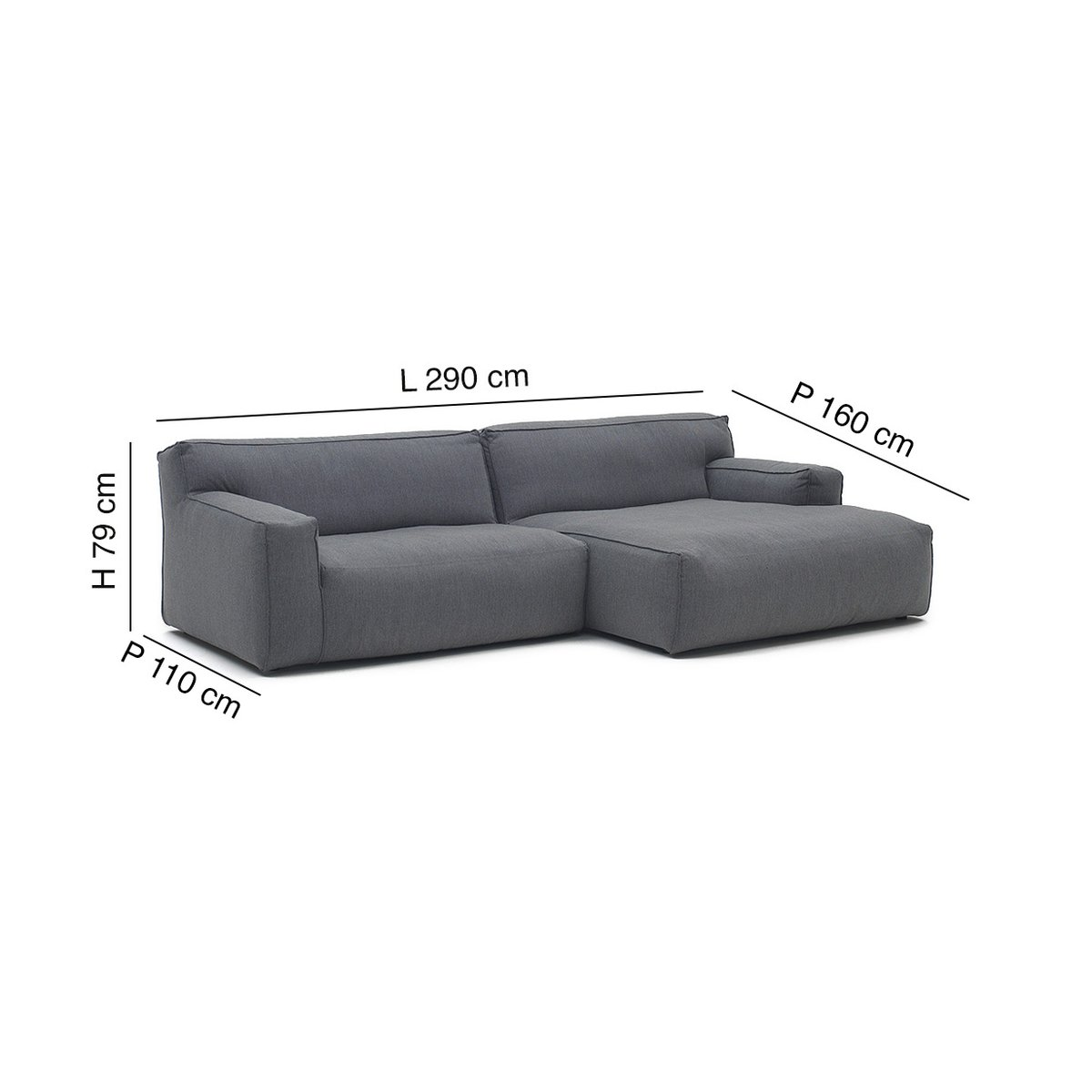Big Sofa 290 Cm Clay Sydney 94 Three Seater Sofa