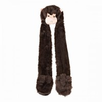 Womens/Ladies Faux Fur Animal Hat With Attached Scarf And
