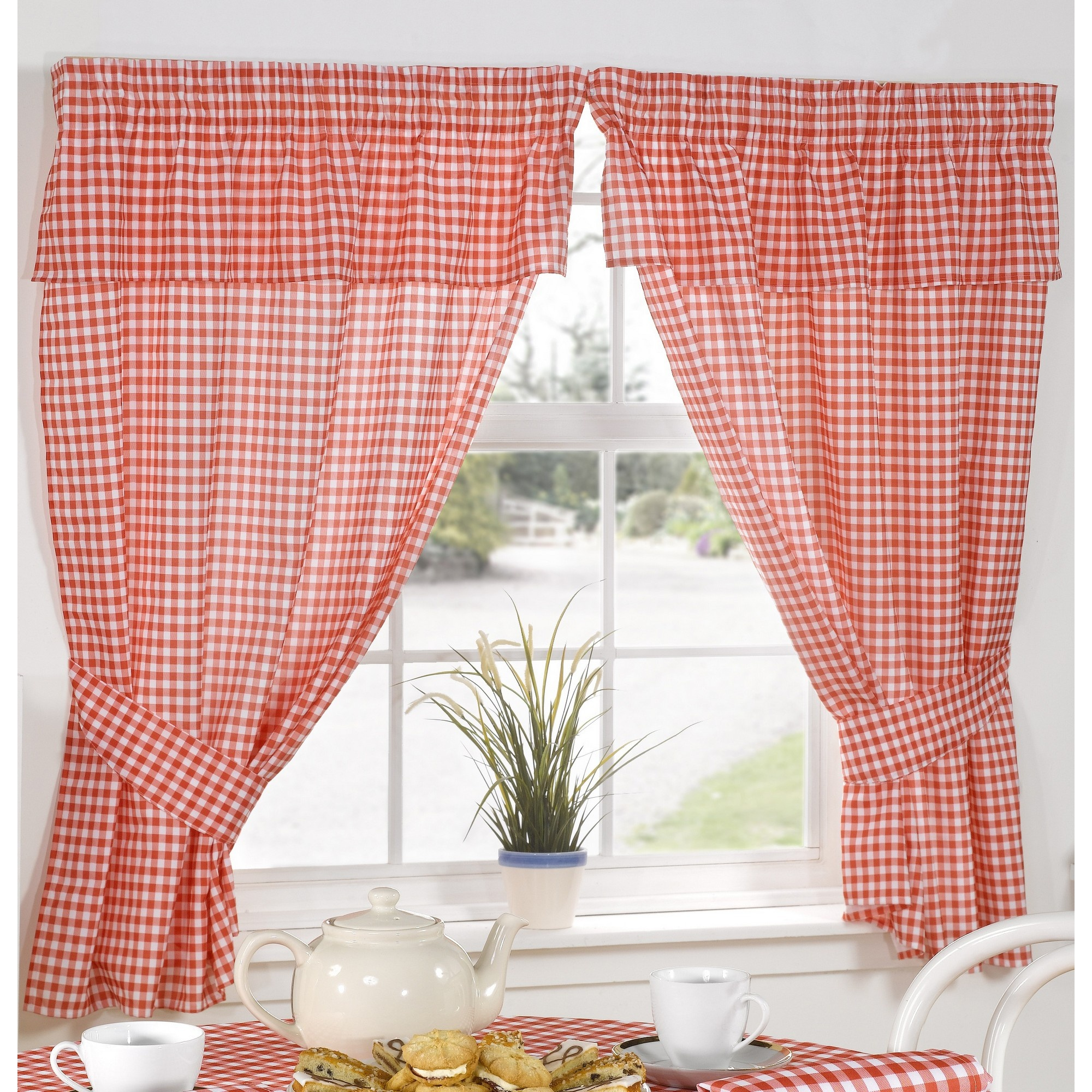 Karo Gardinen Molly Gingham Check Pattern Ready Made Kitchen Curtains
