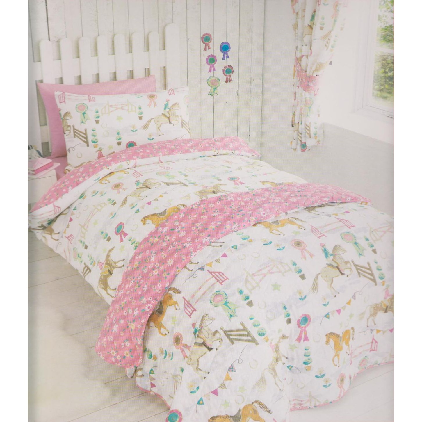 Girls Bedding Kids Club Girls Horse Show Quilt Cover Bedding Set Twin
