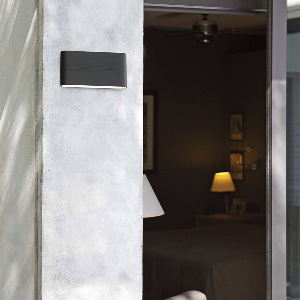 Gris Foncé Outdoor Wall Light Aday 2 Led Ip54 Dark Grey L17 5cm H9cm Faro