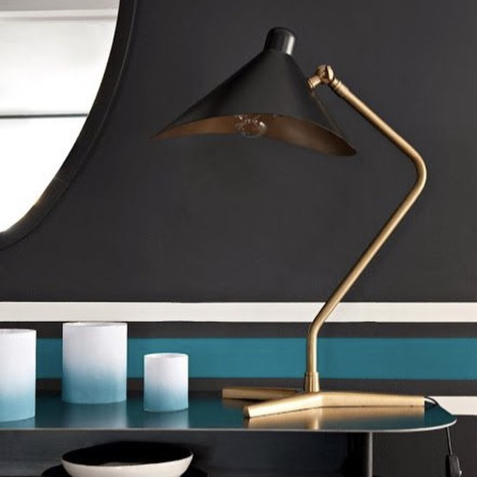 Designer Lampe Table Lamp, Dino, Black, L39cm, H57cm - Gong - Nedgis Lighting