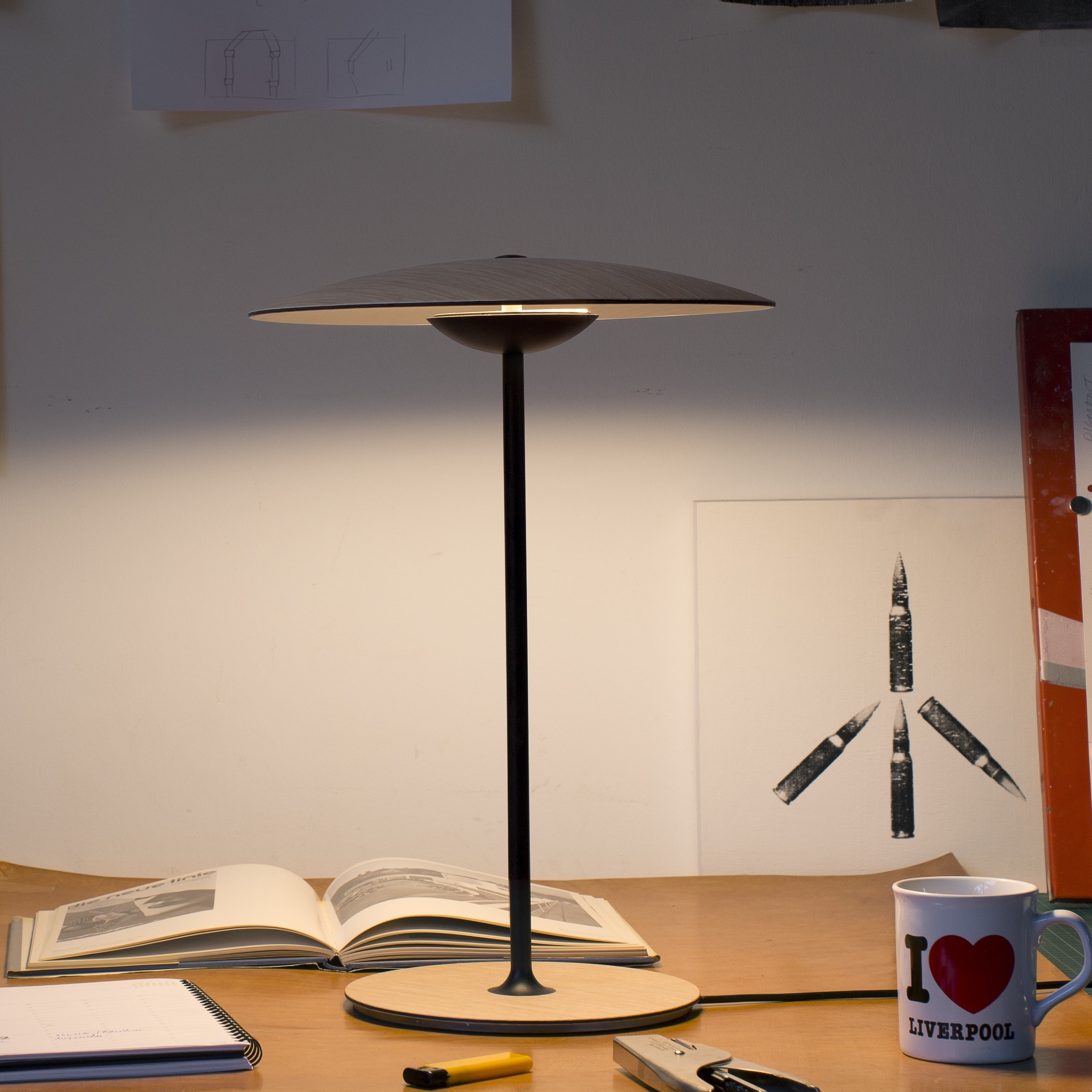 Led Küchenlampe Table Lamp Ginger M Wenge Led Ø42cm H54cm Marset