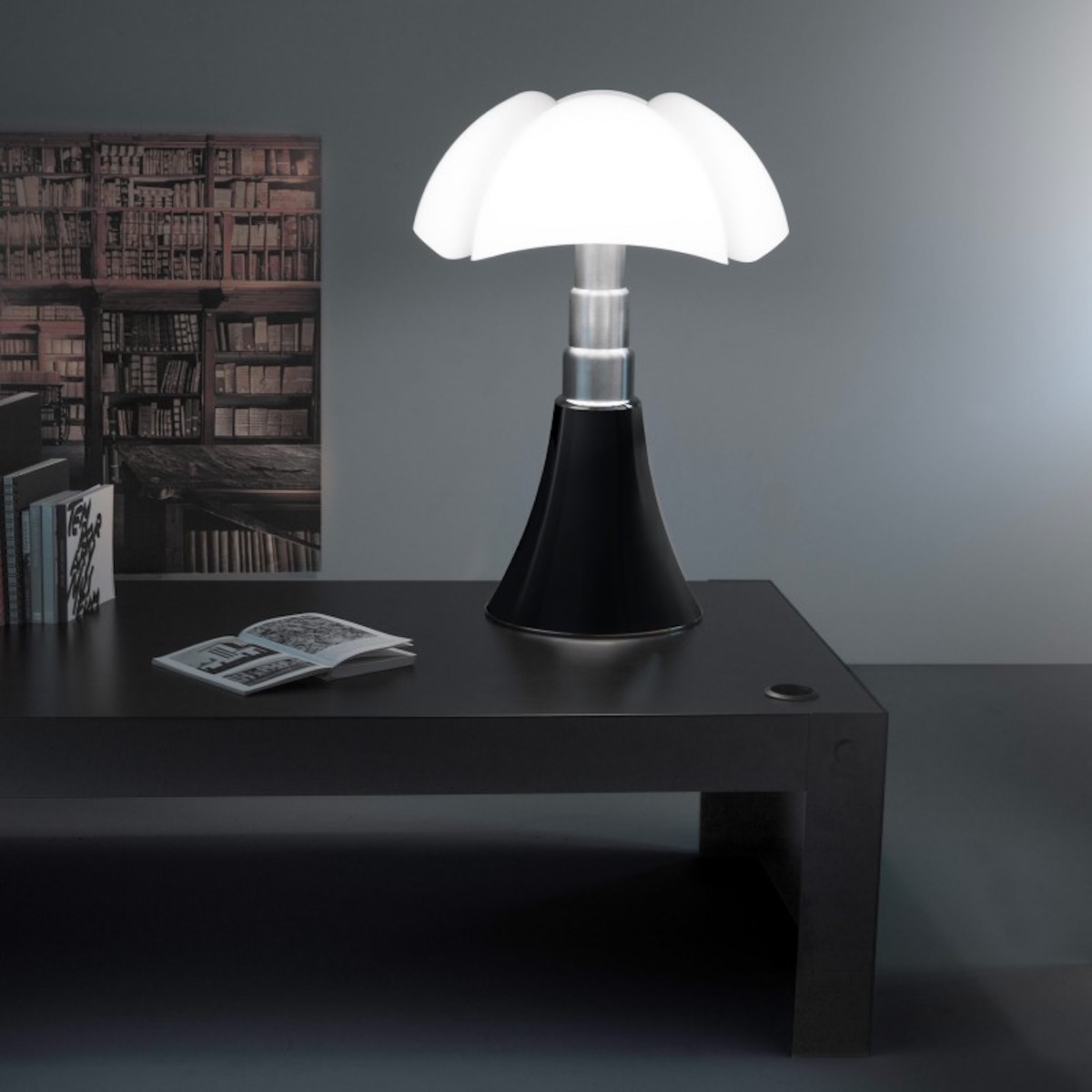 Küchenlampe Led Table Lamp Pipistrello Medium Led Dark Brown Dimmable H50 62cm Ø40cm Martinelli Luce