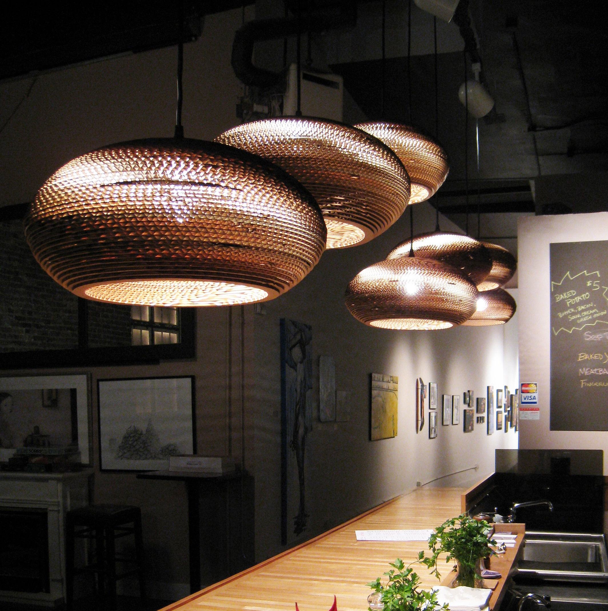 Lampes Design Carton Suspension Disc 16 Marron H19cm Ø43cm Graypants
