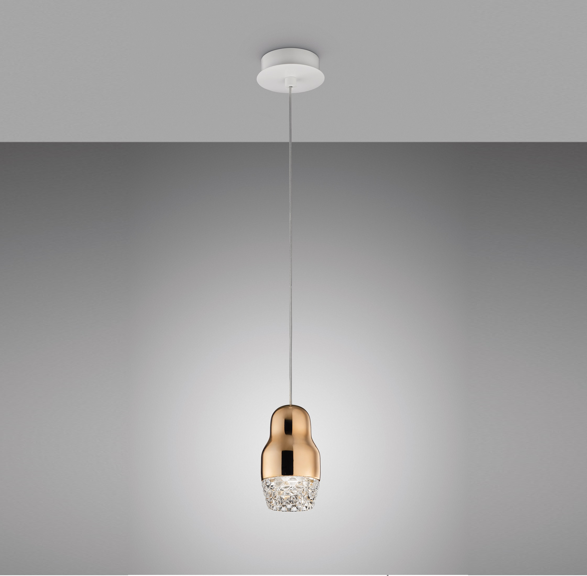 Suspension Contemporaine Suspension Fedora Or Rose Verre Led H19cm Axo Light