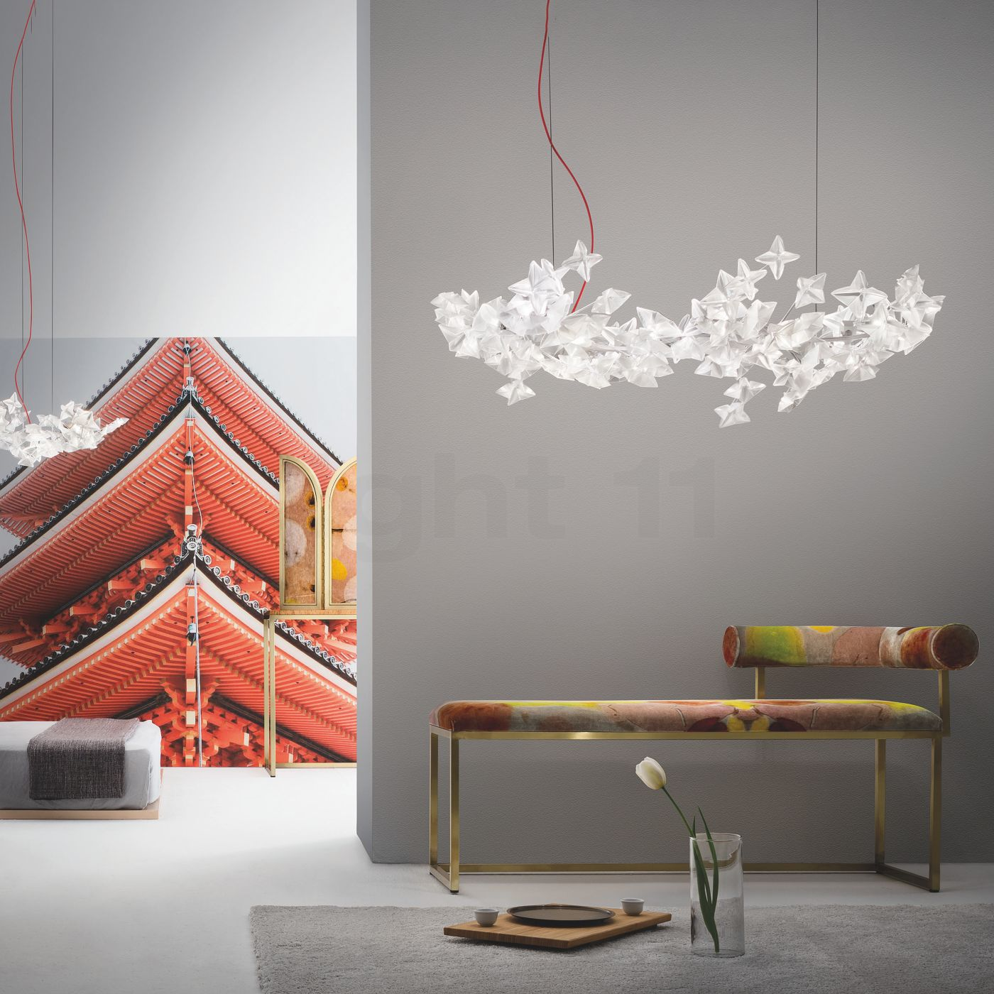 Led Esstischlampe Pendant Light Hanami L Grey Led Ø96cm P26cm Red Cable Slamp