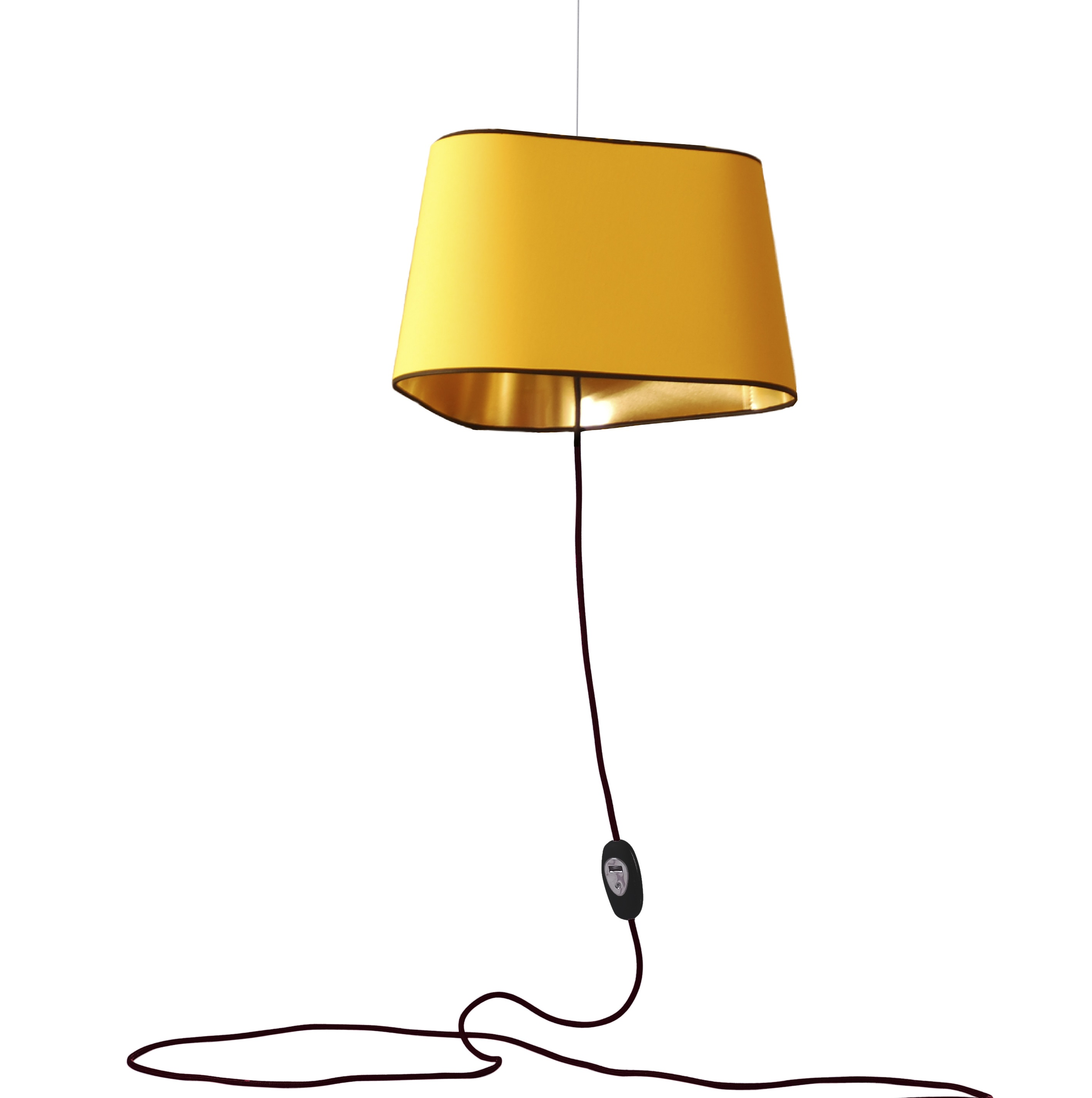 Suspension Luminaire Grand Diametre Suspension Nomade Grand Nuage Jaune Or Ø43cm