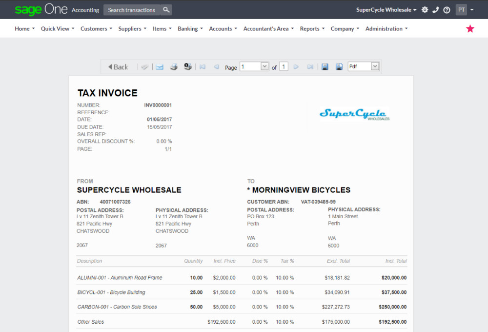 Online Accounting Software for Small Business - Sage One Australia - company invoices