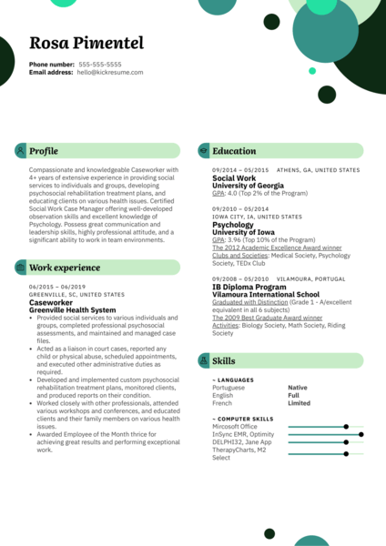 resume examples for humanitarian