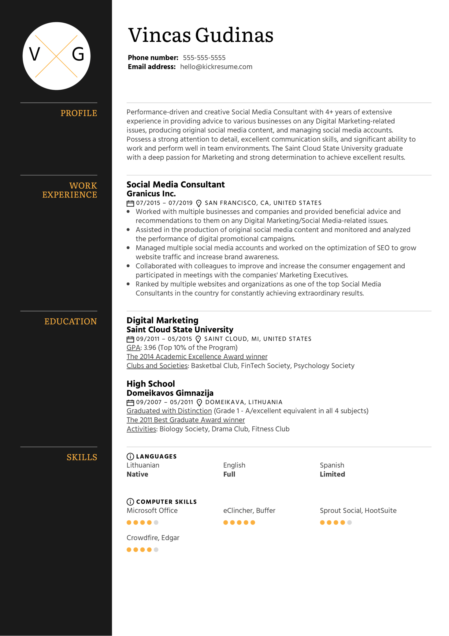 resume examples by real people social media consultant resume example