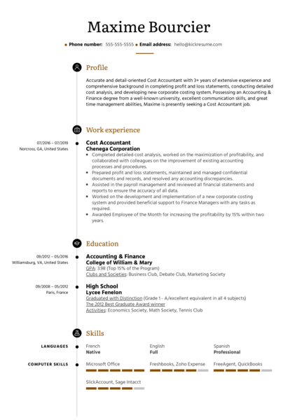 trainee accountant resume sample