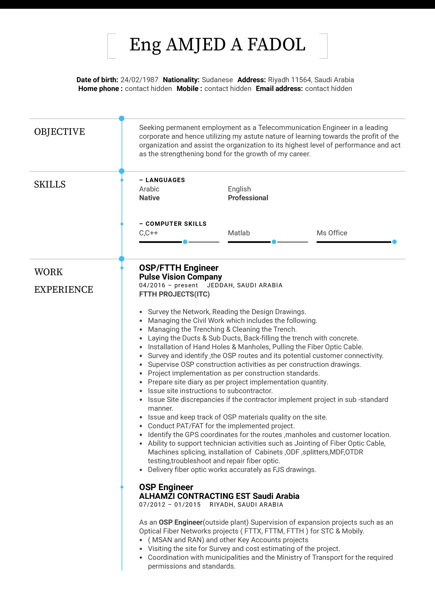 resume sample for experience engineer