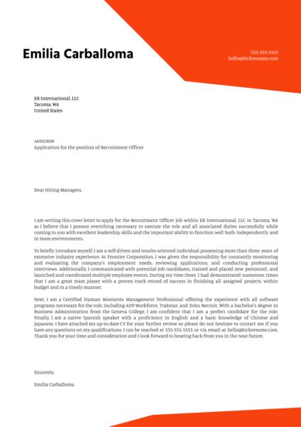 talent acquisition cover letter