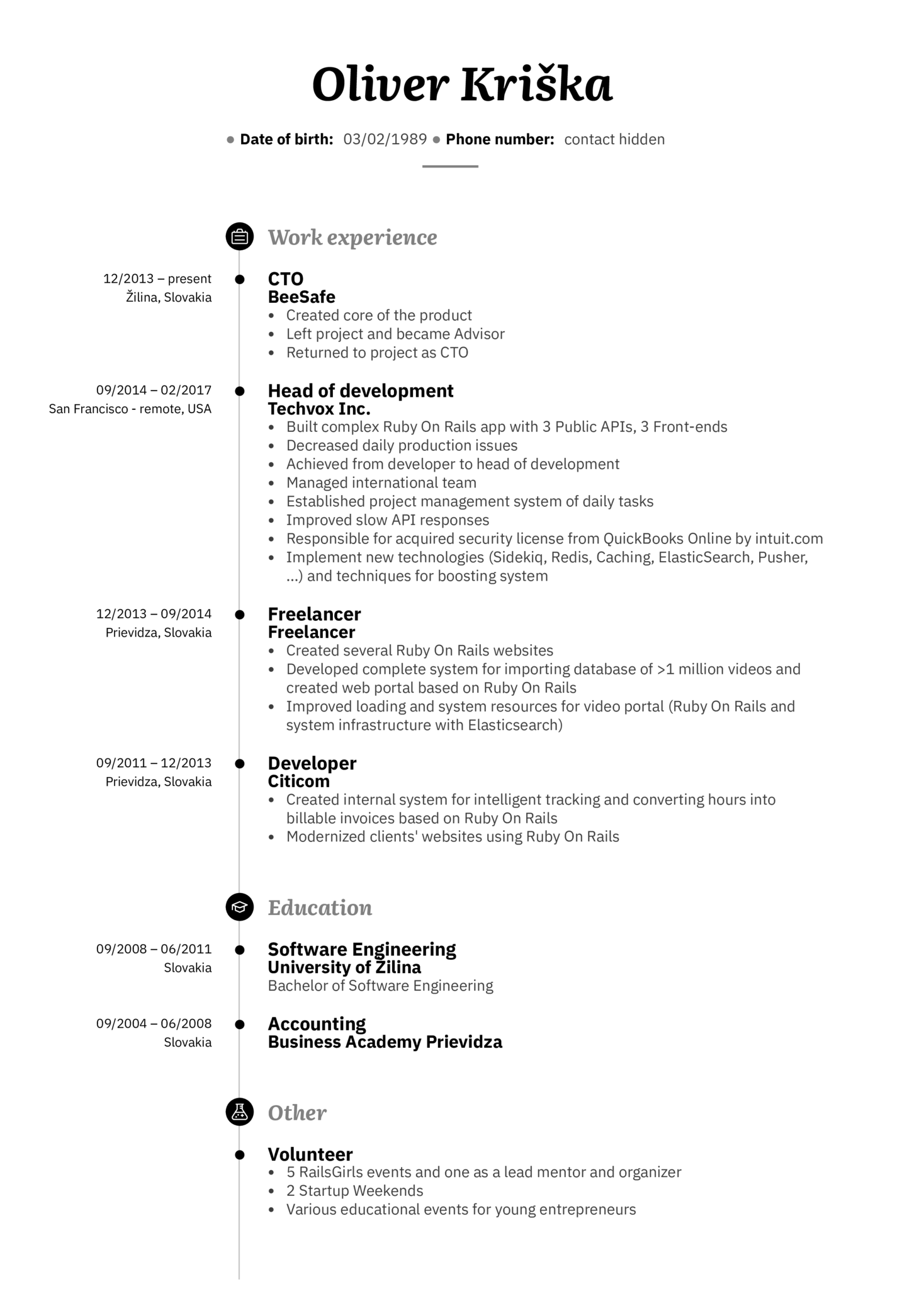 resume examples by real people senior web developer