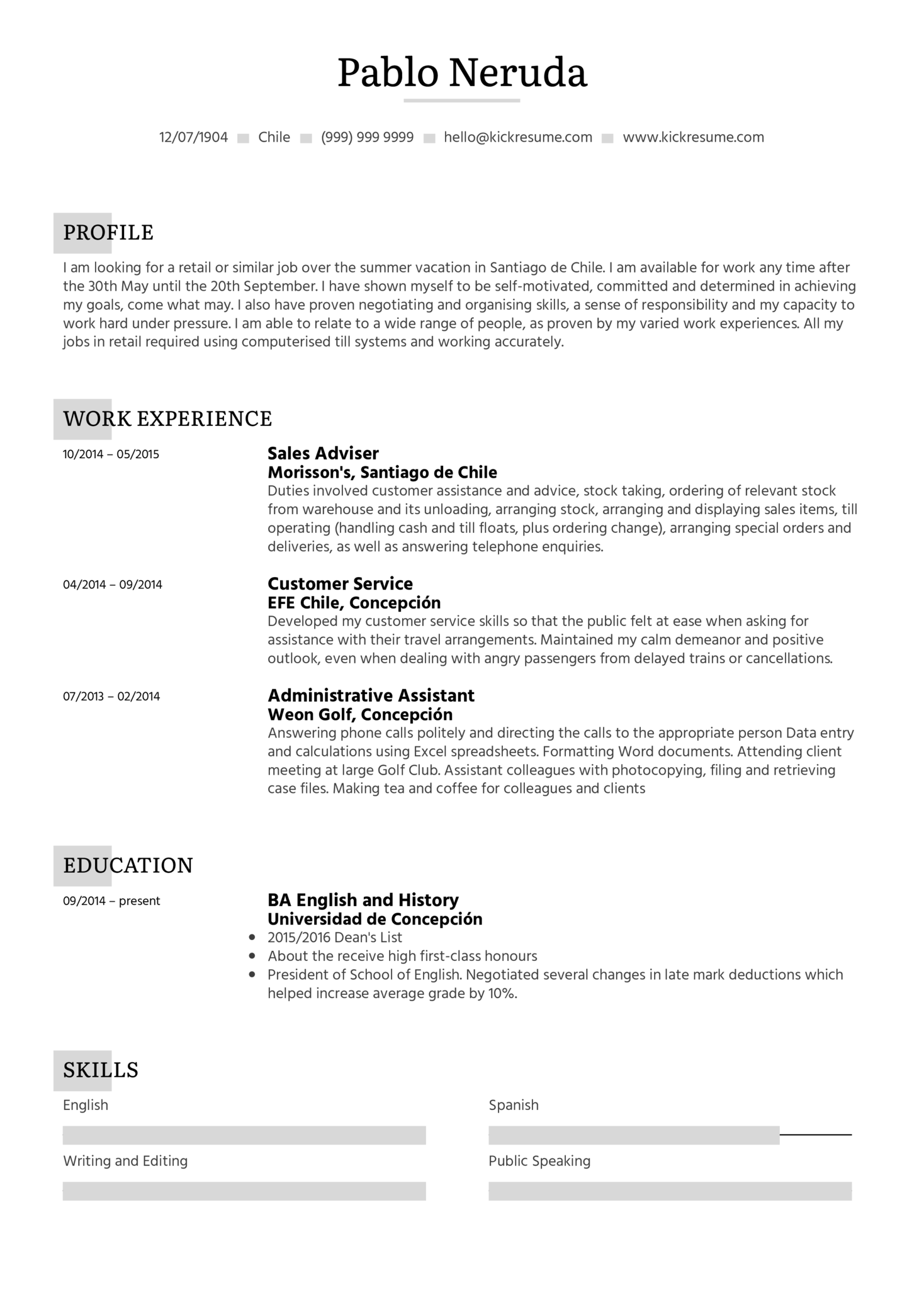 resume examples for summer jobs