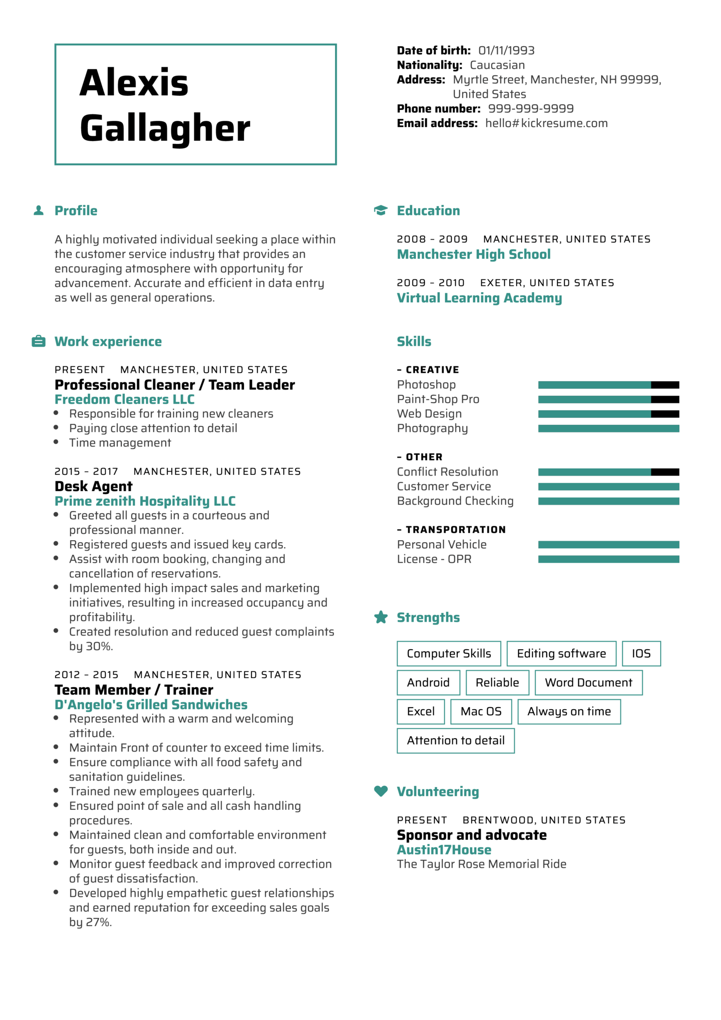 resume examples by real people front
