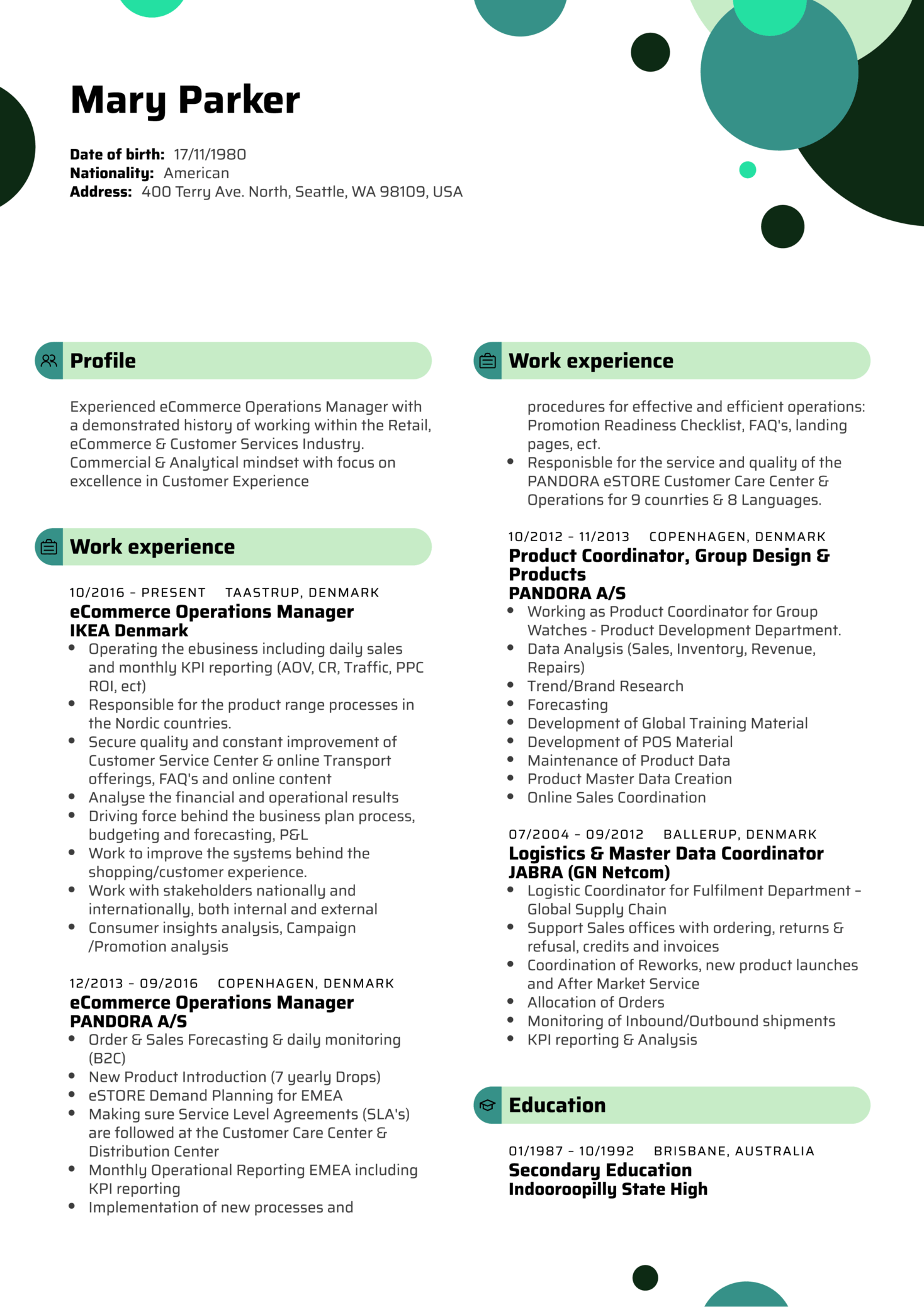 example of amazon resume