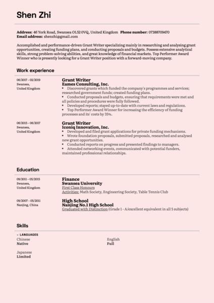 sample resume for grant associate