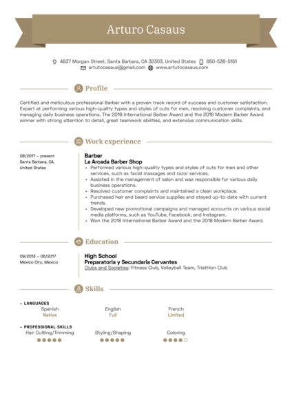 sample resume barber