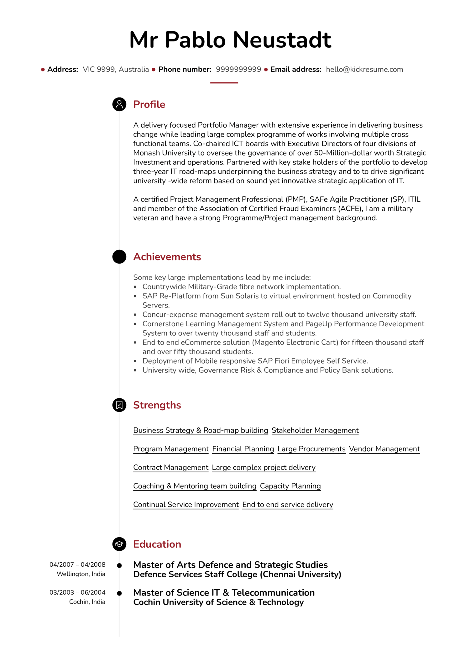 senior project manager cv