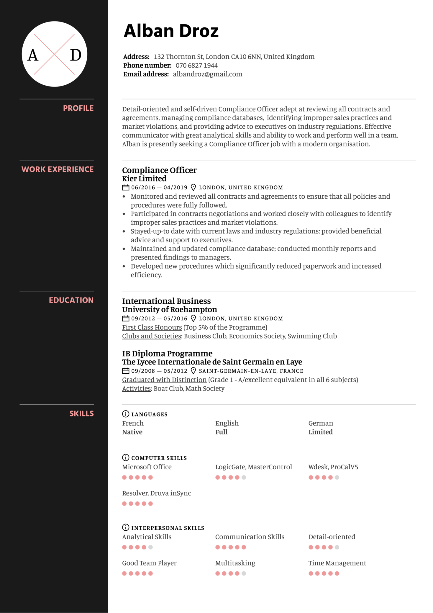resume templates compliance officer