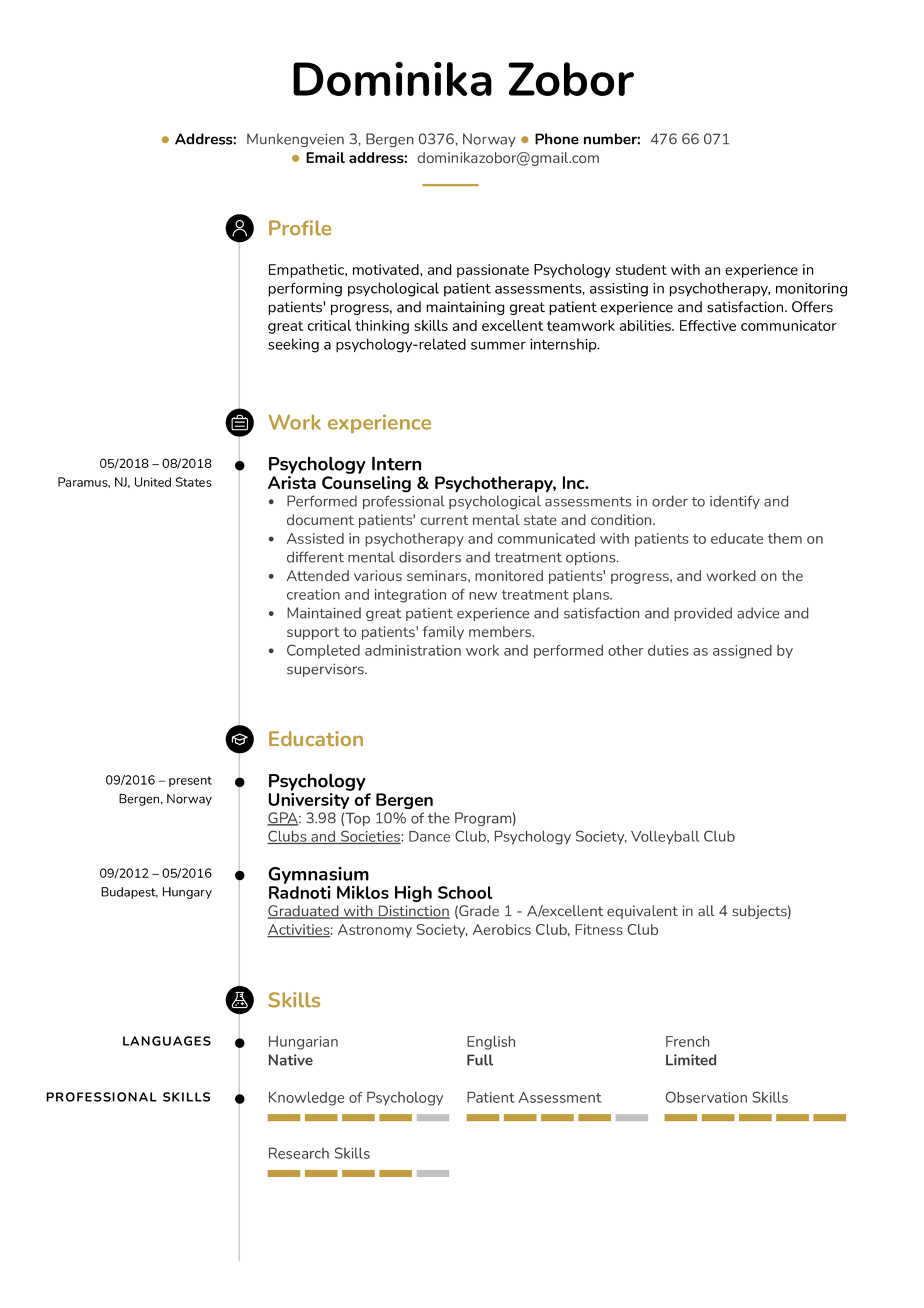 psychology intern undergrade resume template