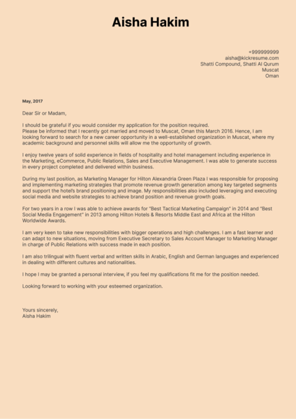 cover letter examples by real people marketing