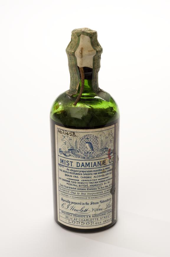 Bottle of Hewlett\u0027s Damian compound mixture, London, England, 1885