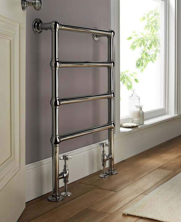 Am42 850hx600w Hot Water Floor And Wall Mounted 4 Rail Ball Joint Towel Warmer Chrome By Aston