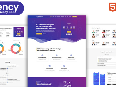 Bitency - Cryptocurrency  Bitcoin Bootstrap 4 responsive landing