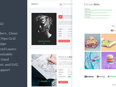 Resumer - One Page Resume and Portfolio PSD Template (Portfolio