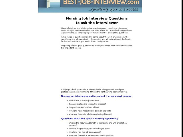 Apr 27, Nursing Job Interview Questions to ask the interviewer