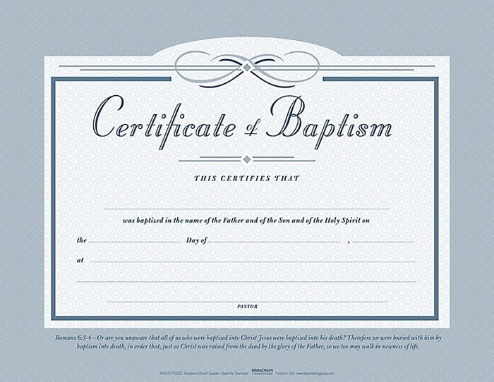 Baptism Certificate (Pack of 6) (634337783222)  CLC Bookshops