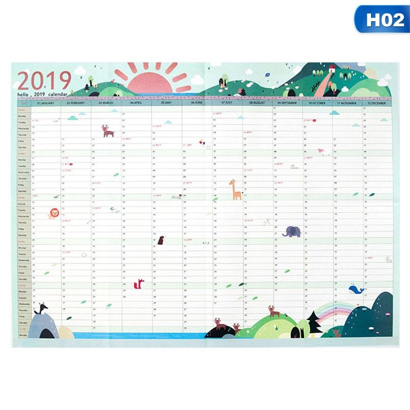 2019 Calendar Paper Wall Office Home School Daily Planner Notebook
