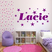 Personalised Stars Name Girls Bedroom Wall Art Stickers ...