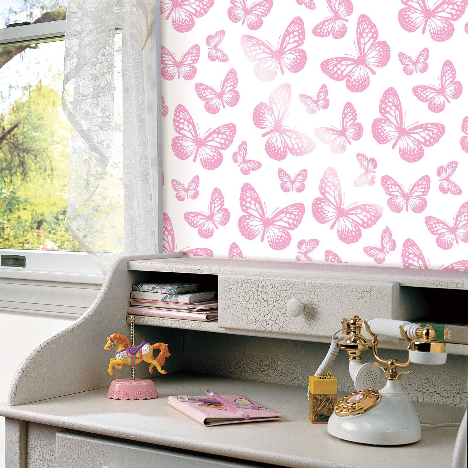 Butterfly Bedroom Themes Butterfly Wallpaper Girls Bedroom Decor Pink White Teal
