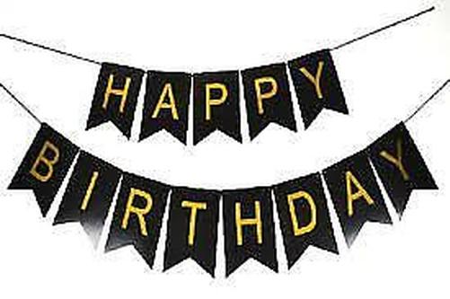 dorado letra Feliz Cumpleaños Aniversario Guirnalda Pancarta Papel