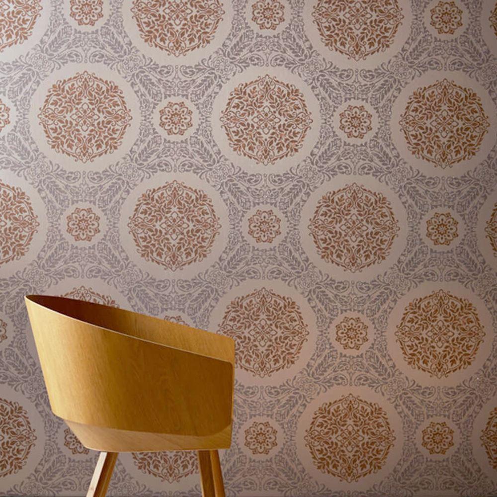 3d Wave Flocking Wallpaper Copper Charcoal Wallpaper Glitter Metallic Feathers
