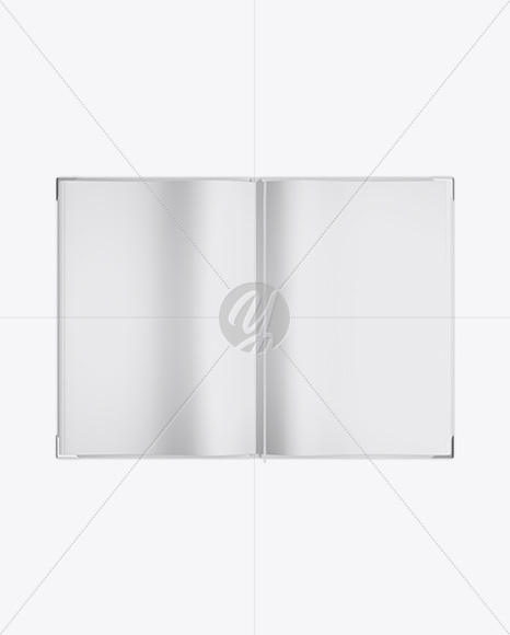 Opened Book Mockup - Top View in Stationery Mockups on Yellow Images - opened book