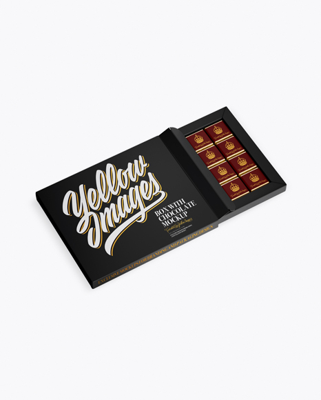Opened Matte Chocolate Box - Half Side View PSD Template - Free