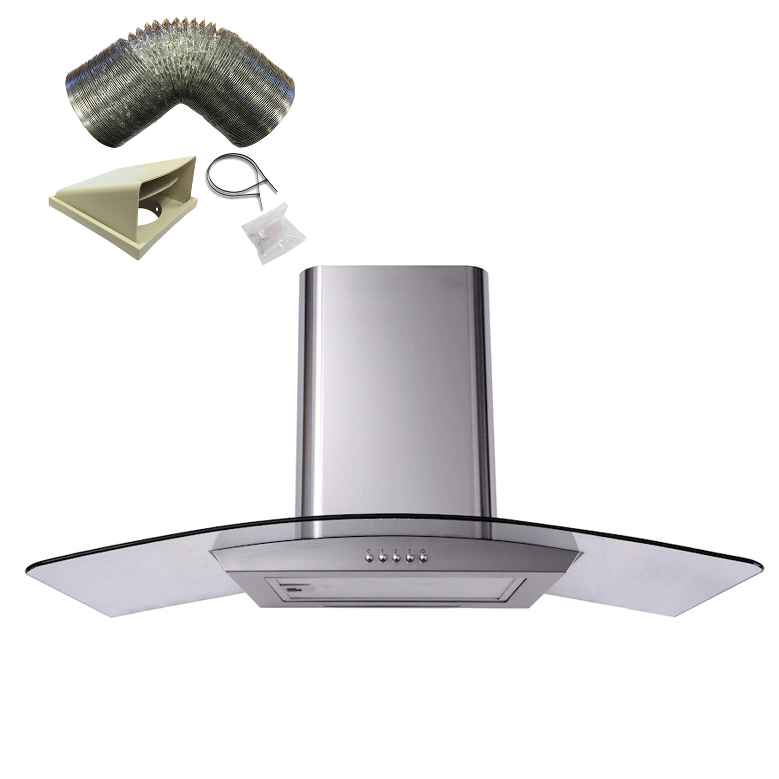 100cm = 1m Sia Cp101ss 100cm Stainless Steel Curved Glass Cooker Hood Fan And 1m Ducting