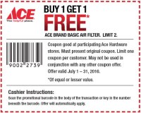 Ace Hardware: Buy 1 Get 1 FREE Ace Brand Furnace Air Filter