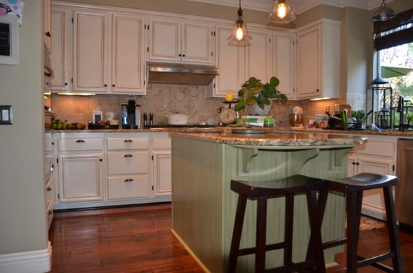 Vintage Green Kitchen Cabinets Antique White And Green Kitchen Cabinet Re-finish | Yelp